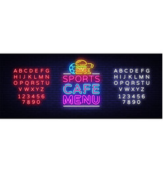 sports cafe menu neon sign sport cafe menu vector image