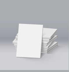 Stack of blank white books mockup template for vector