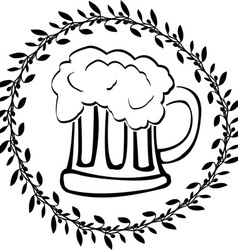 stencil of glass of beer vector image