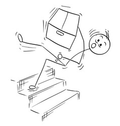Stick man cartoon of man falling from stairs vector