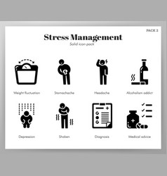 Stress management icons solid pack vector