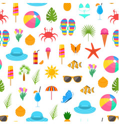 summer time color elements seamless pattern vector image