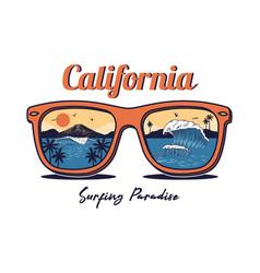 Sunglasses with summer ocean sea beach vector