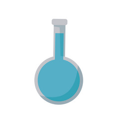 test tube laboratory with blue liquid chemistry vector image