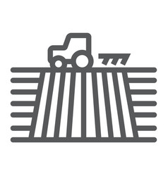 tractor on field line icon farming vector image