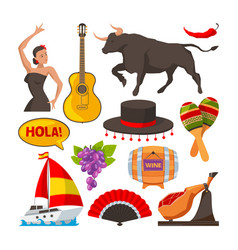 travel pictures of spain cultural objects cartoon vector image