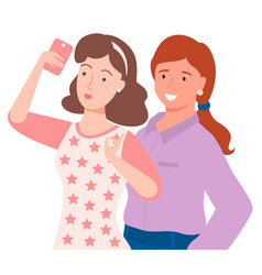 two women taking selfie on smartphone image vector image