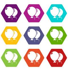 wedding ballons icons set 9 vector image