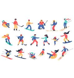 winter snow activities skiing snowboarding vector image