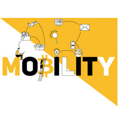word concept mobility and people doing activities vector image