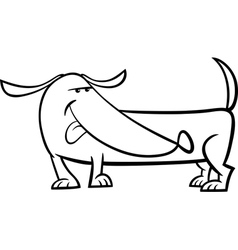 dachshund dog cartoon coloring page vector image