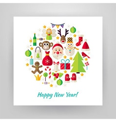 Flat Style Circle Set of Happy New Year Objects vector image vector image