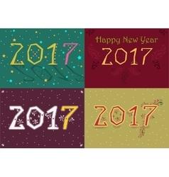 Happy New Year 2017 Retro geometric font vector image vector image