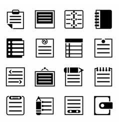 Notes icon set vector image vector image