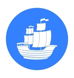 Pirate ship icon in black style isolated on white vector image vector image
