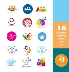 Social media people logo set vector image vector image