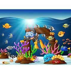 diver under the sea vector image