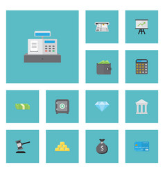 flat icons accounting till teller machine and vector image vector image