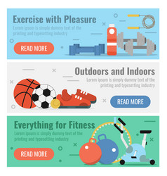 three banners for fitness sport vector image vector image