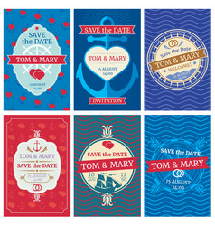 wedding invitation cards with nautical vector image