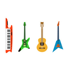 acoustic electric guitar icons set isolated vector image vector image