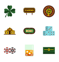 fortune gambling icons set flat style vector image