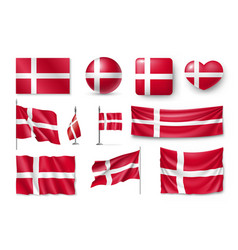 set denmark flags banners banners symbols flat vector image