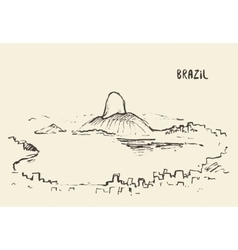 Sketch Rio De Janeiro skyline Brazil vector image