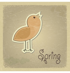 Vintage postcard with a picture chick Spring motif vector image vector image