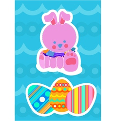 Easter bunny and painted eggs vector image