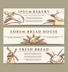 fresh bread and bakery banners vector image