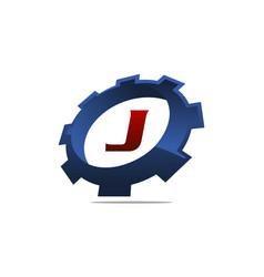 gear logo letter j vector image