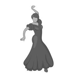 Girl dancing flamenco icon gray monochrome style vector image