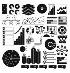 Infographics elements set black simple vector image