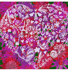 Love valentine background with heart vector image