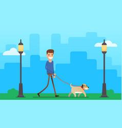 man walking dog outdoor vector image