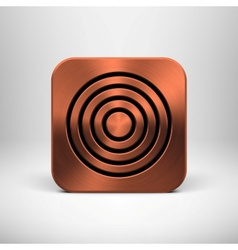 Technology App Icon with Bronze Metal Texture vector image