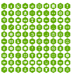 100 basketball icons hexagon green vector