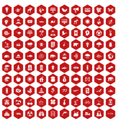 100 eco care icons hexagon red vector