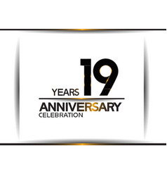 19 years anniversary black color simple design vector
