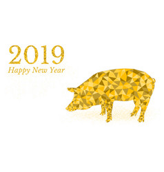 2019 happy new year golden pig pig icon low poly vector image
