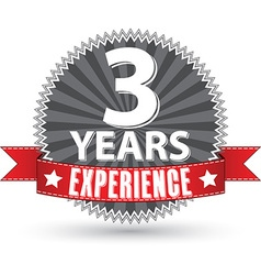 3 years experience retro label with red ribbon vector