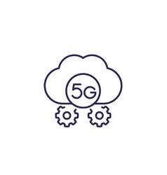 5g network icon with cloud line vector