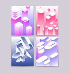 abstract 3d shapes cool gradient isometric shapes vector image