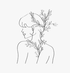 Aesthetic womanrsquos body line art minimal vector