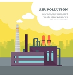 Air Pollution Banner Factory with Smog Pipes vector