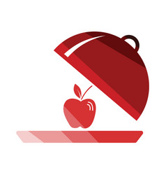 apple inside cloche icon vector image