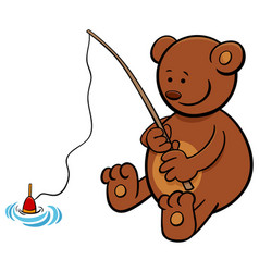 Bear on fishing cartoon vector