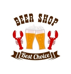 Beer shop emblem with drink and snacks vector image