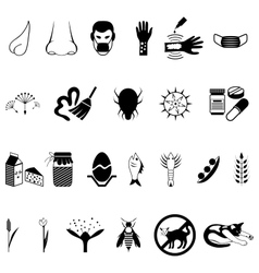 Black allergies icons set vector